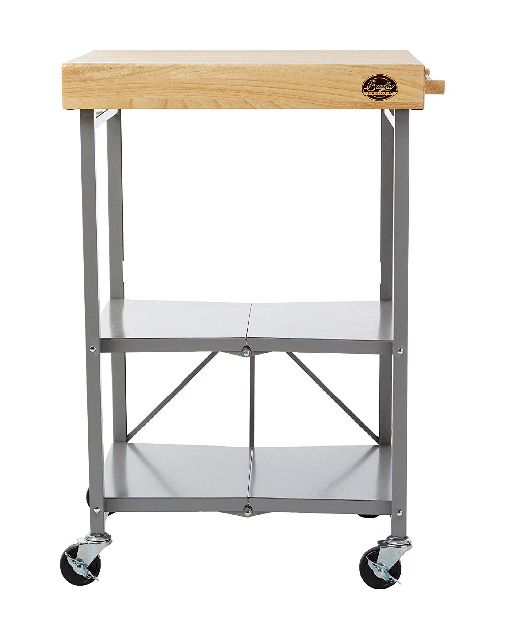 Bradley Smoker Foldable Cart on Wheels, Wood top, Steel Grey Frame